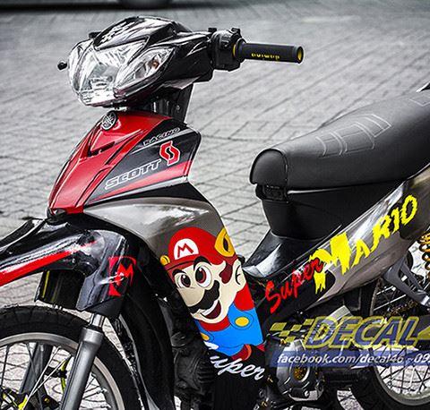 Tem xe Yamaha Sirius - 155 - Tem xe concept Mario đỏ đen