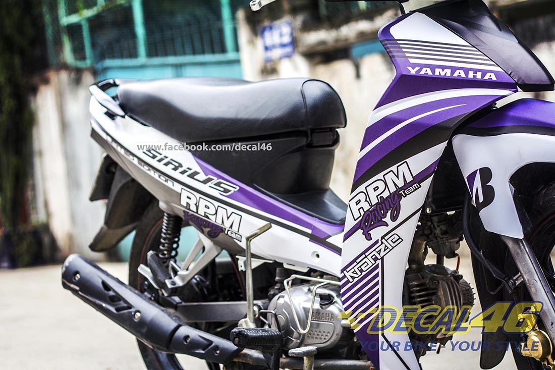 Tem xe Yamaha Sirius - 150 - Tem xe concept RPM tím trắng