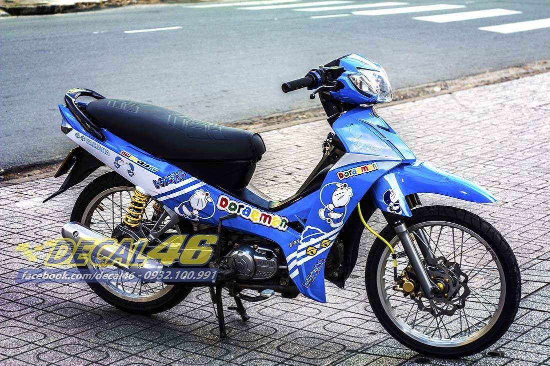Tem xe Yamaha Sirius \u2013 152 \u2013 Tem xe concept Doremon trắng xanh