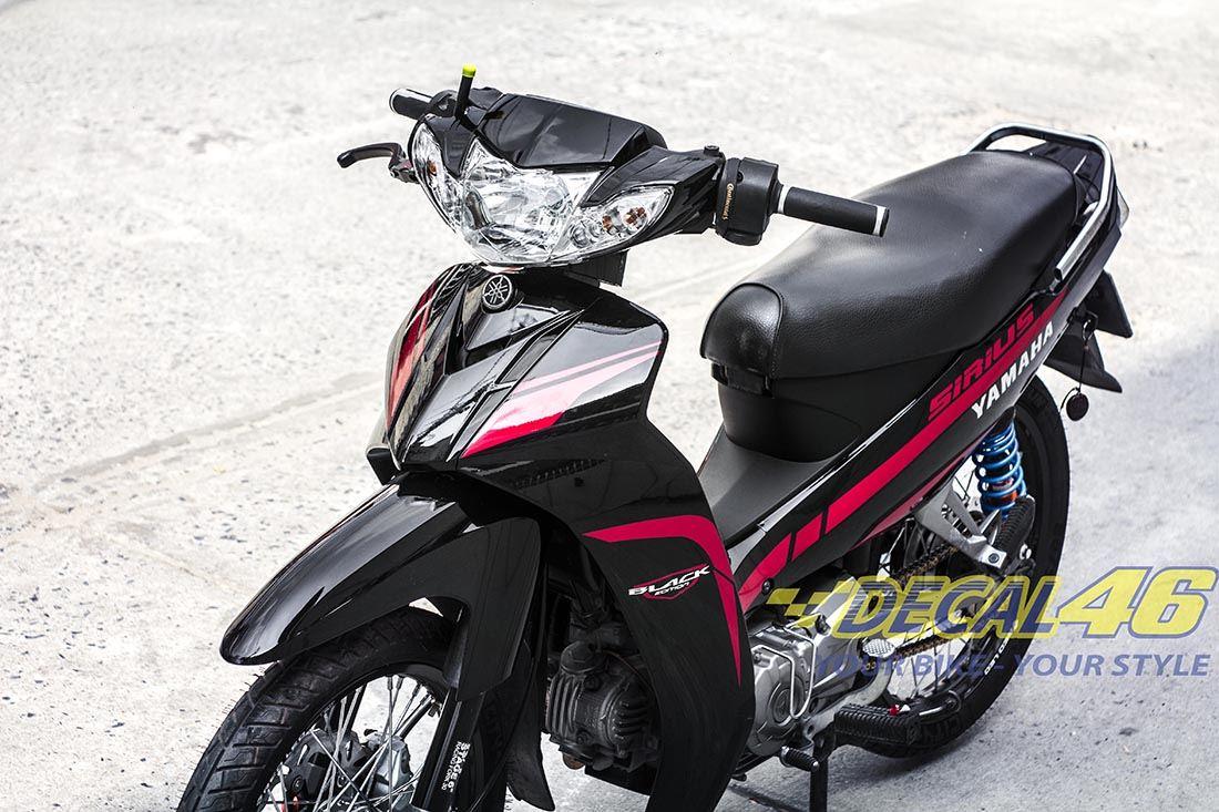 Tem xe Yamaha Sirius - 146 - Tem xe concept Matte Red Candy đỏ đen