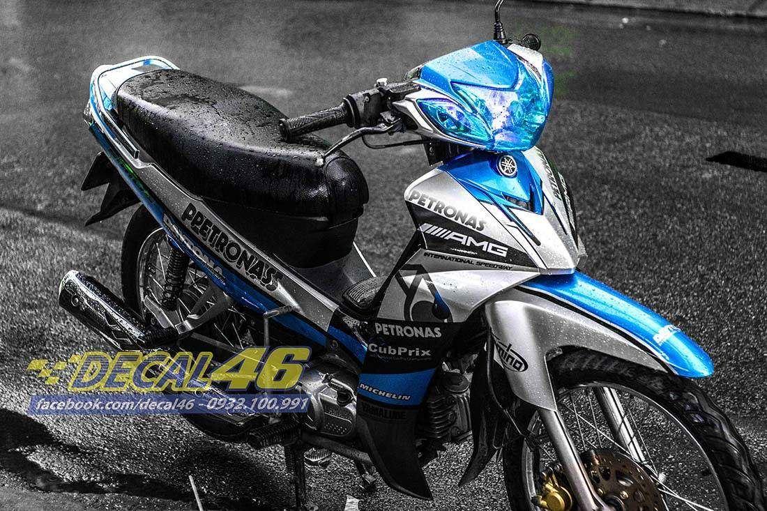 Tem xe Yamaha Sirius - 157 - Tem xe concept Petronas xanh bạc