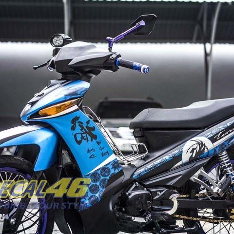 Tem xe Yamaha Sirius - 151 - Tem xe concept Thư pháp xanh đen