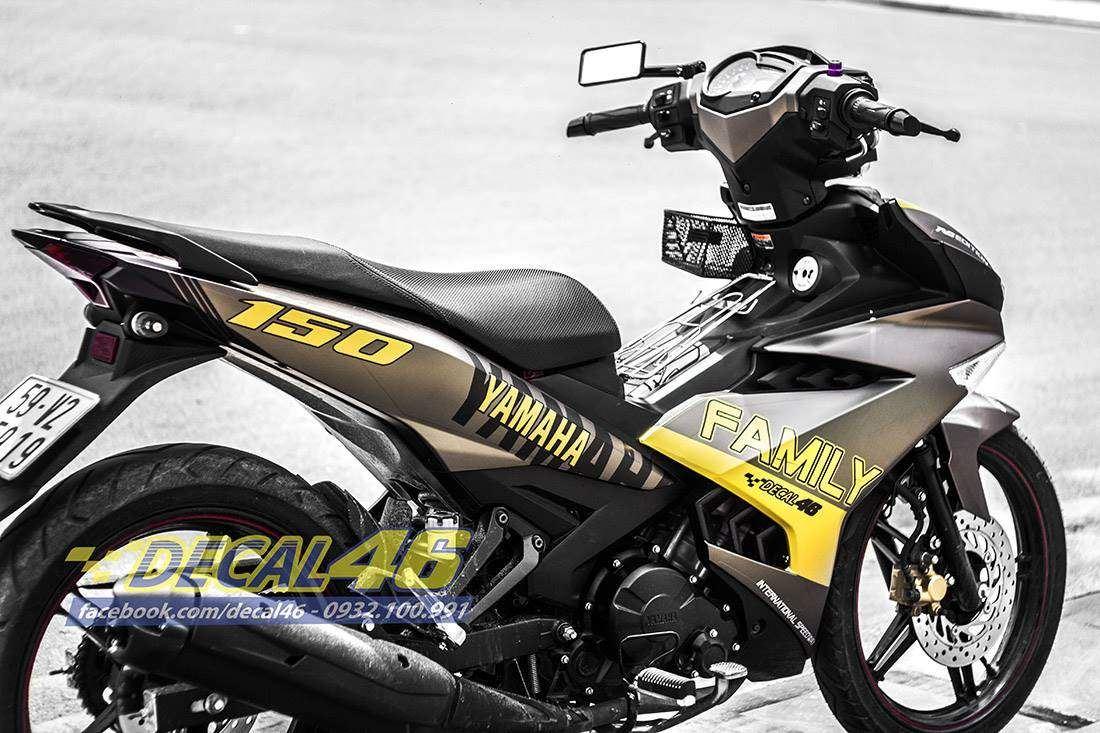 Tem xe Exciter 150 - 211 - Tem xe thiết kế Family One vàng đen