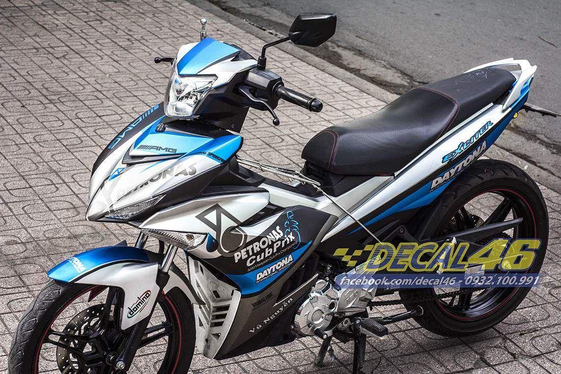 Tem xe Exciter 150 - 203 - Tem xe concept Petronas trắng xanh