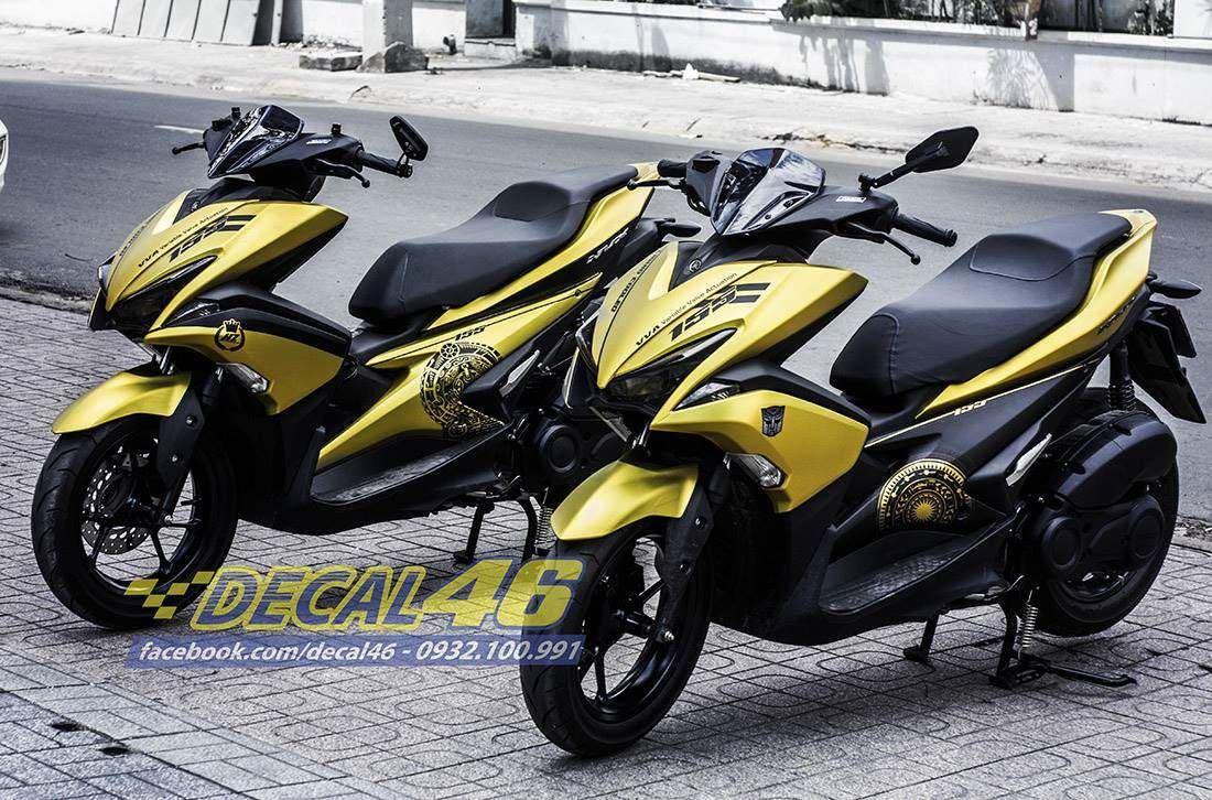 Tem xe NVX - 6 - Tem xe concept Trống đồng vàng đen