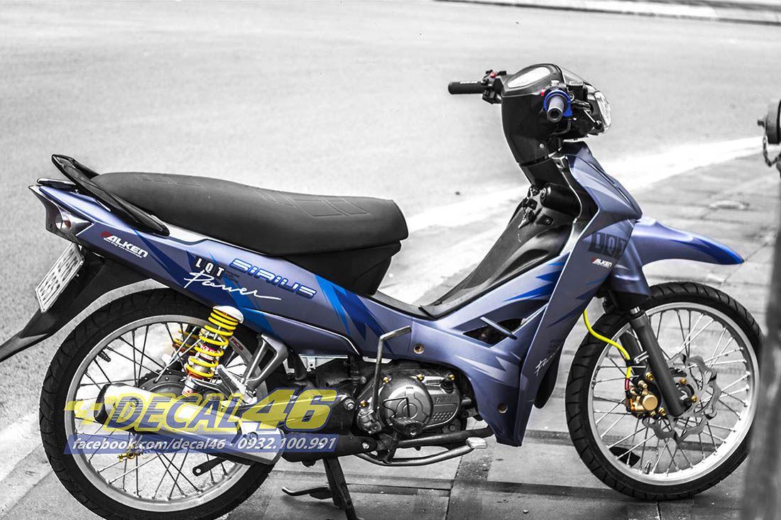 Tem xe Yamaha Sirius - 171 - Tem xe thiết kế Falken xanh trắng