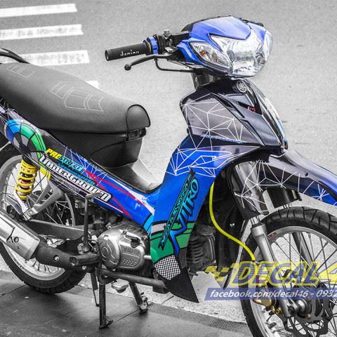 Tem xe Yamaha Sirius - 181 - Tem xe thiết kế Underground xanh đen