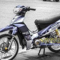 Tem xe Yamaha Sirius - 178 - Tem xe thiết kế Proti xám trắng