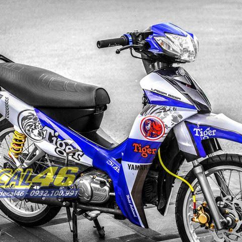 Tem xe Yamaha Sirius - 180 - Tem xe thiết kế Tiger xanh trắng