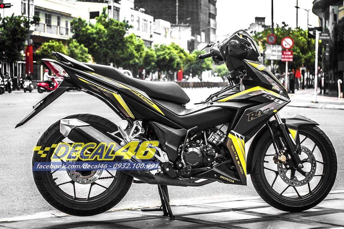 Tem xe Winner 150 - 145 - Tem xe thiết kế R1 vàng đen