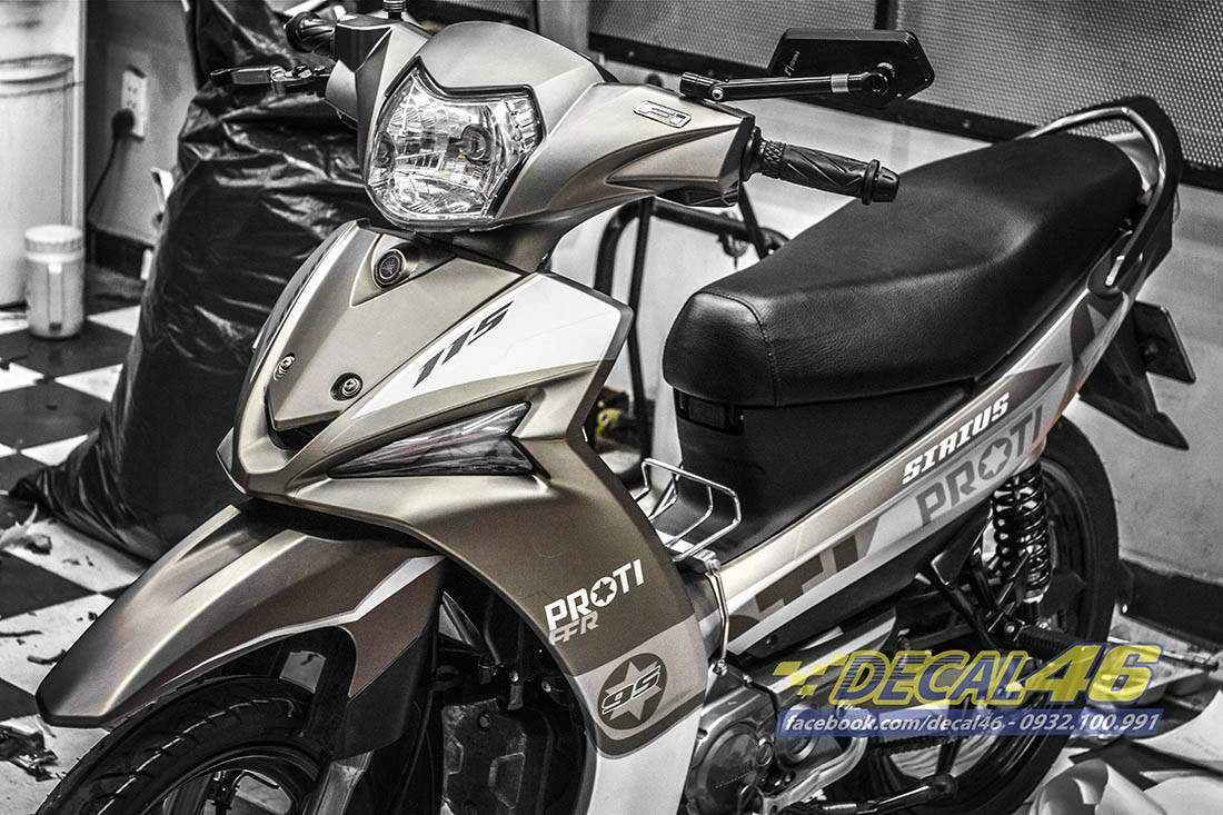 Tem xe Yamaha Sirius - 177 - Tem xe thiết kế Proti xám đen