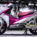 Tem xe Honda Airblade 2016 – 031 – Tem xe thiết kế Nhôm xước hồng