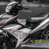 Tem xe Exciter 150 – 218 – Tem xe thiết kế Motocross trắng đỏ