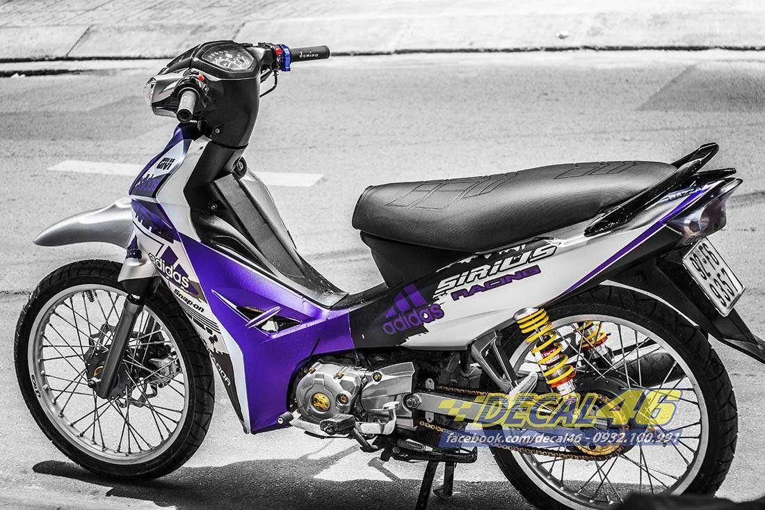 Tem xe Yamaha Sirius - 168 - Tem xe thiết kế Adidas tím