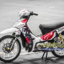 Tem xe Yamaha Sirius - 173 - Tem xe thiết kế Geisha đỏ trắng