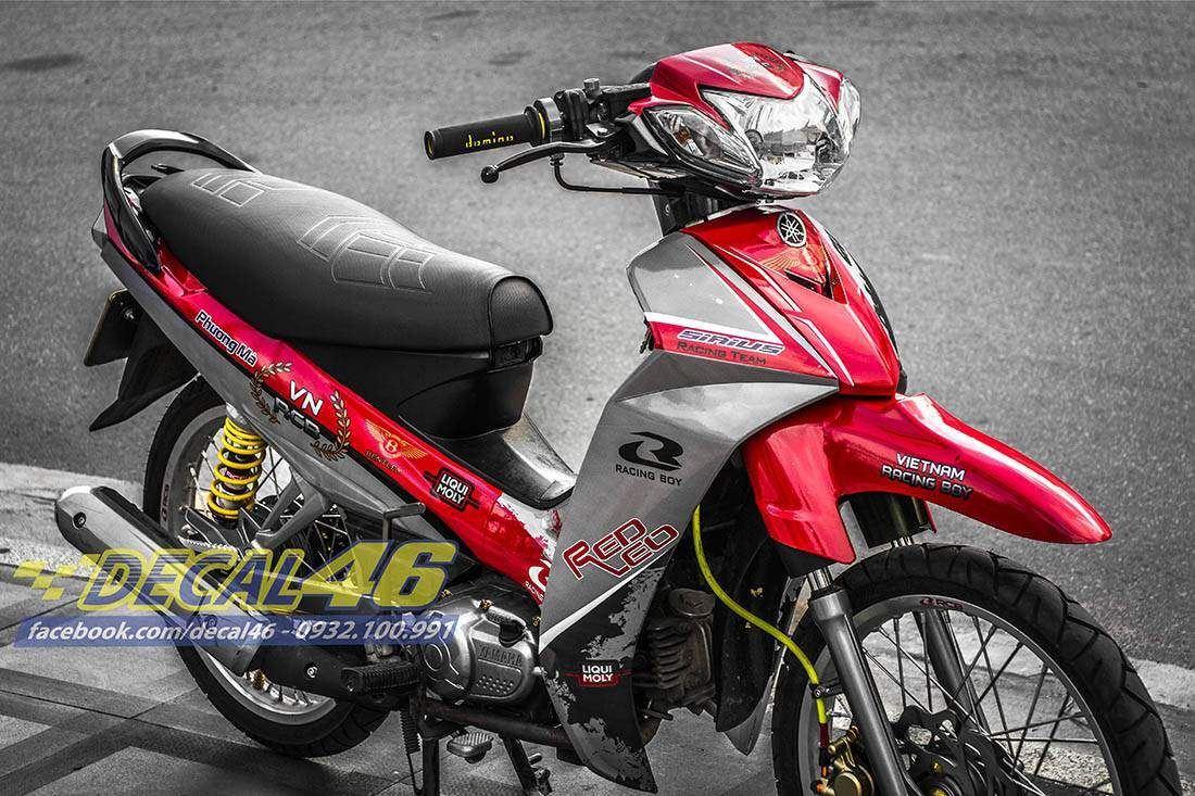 Tem xe Yamaha Sirius - 179 - Tem xe thiết kế Racing boy đỏ