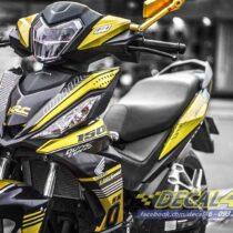 Tem xe Winner 150 - 132 - Tem xe thiết kế Light Speed vàng đen
