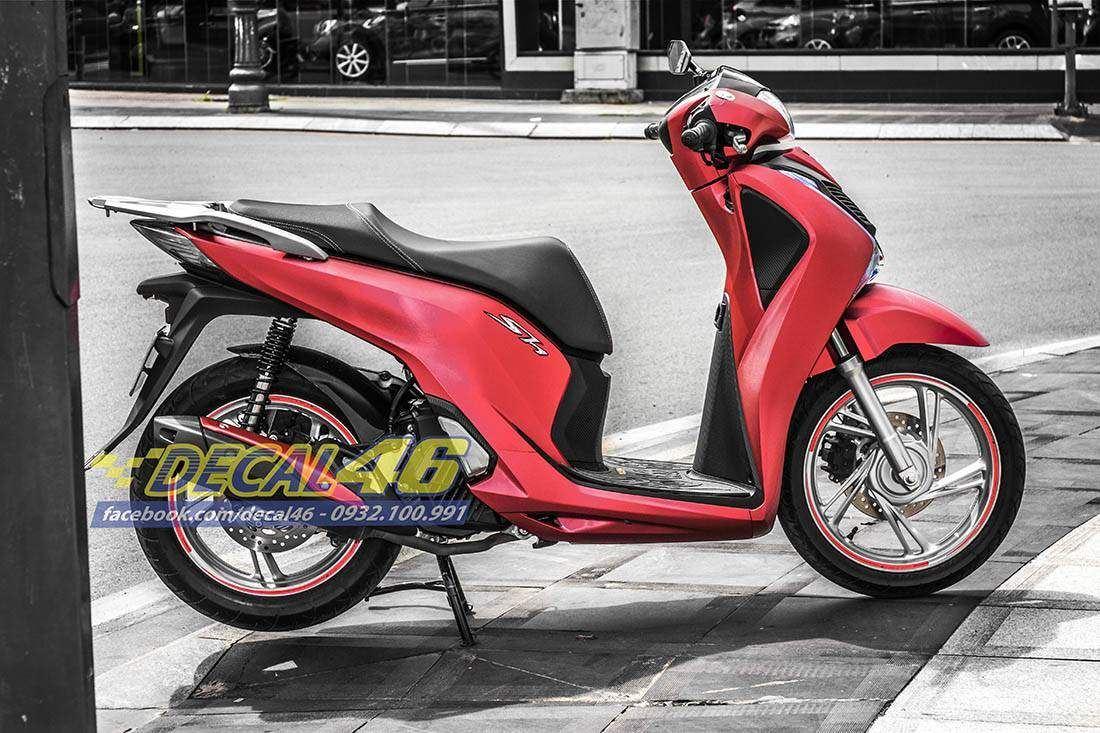 Tem xe Honda SH 150 Italia - Tem xe thiết kế Đỏ xước