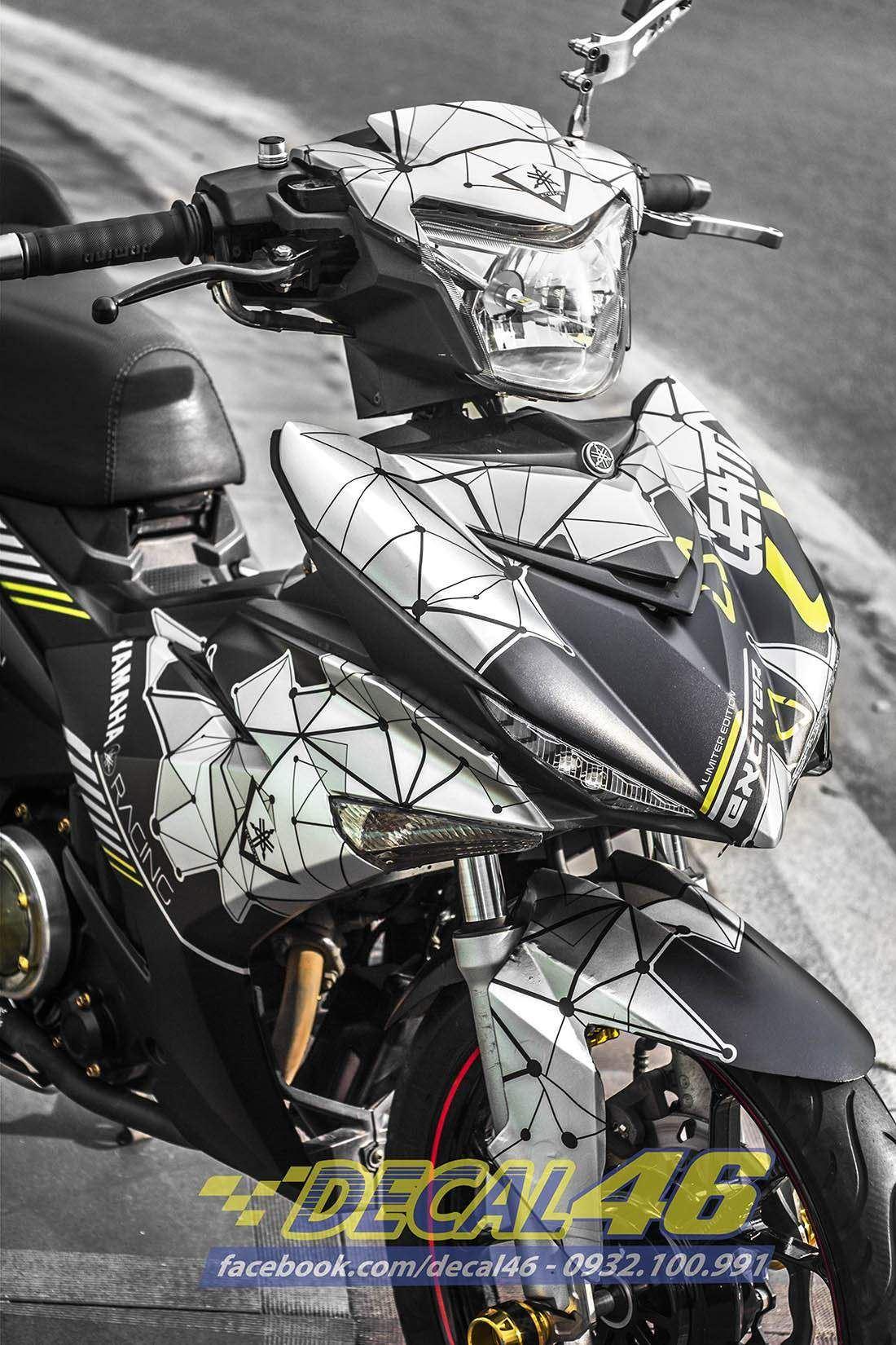 Tem xe Exciter 150 – 245 – Tem xe thiết kế Lap The Vang trắng đen