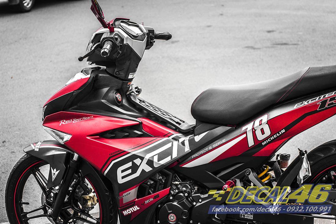 Tem xe Exciter 150 – 249 – Tem xe thiết kế Police đỏ đen