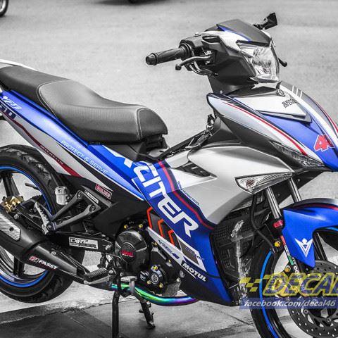 Tem xe Exciter 150 – 250 – Tem xe thiết kế Police xanh bạc