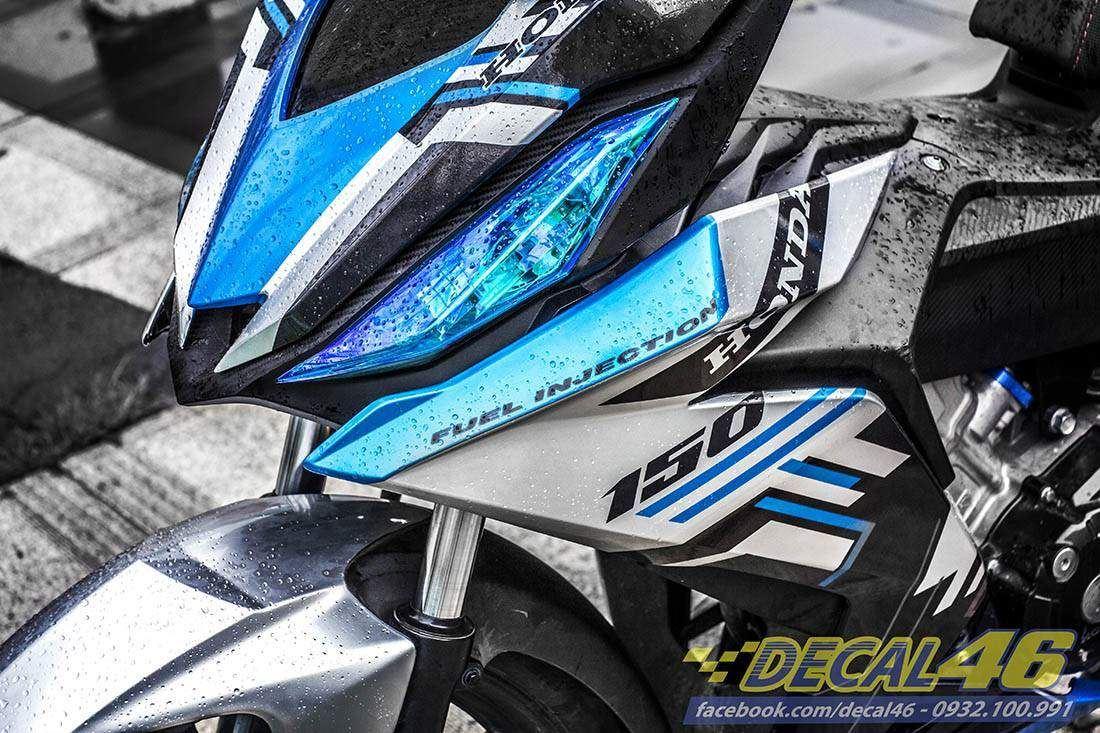 Tem xe Winner 150 - 155 - Tem xe thiết kế Dainese xanh trắng