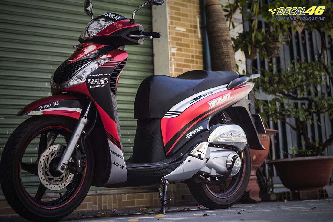 Tem xe Honda SH 150 Italia - Tem xe thiết kế Đỏ đen
