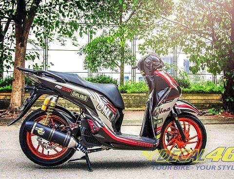 Tem xe Honda SH 150 Italia - Tem xe thiết kế Ohlin đỏ