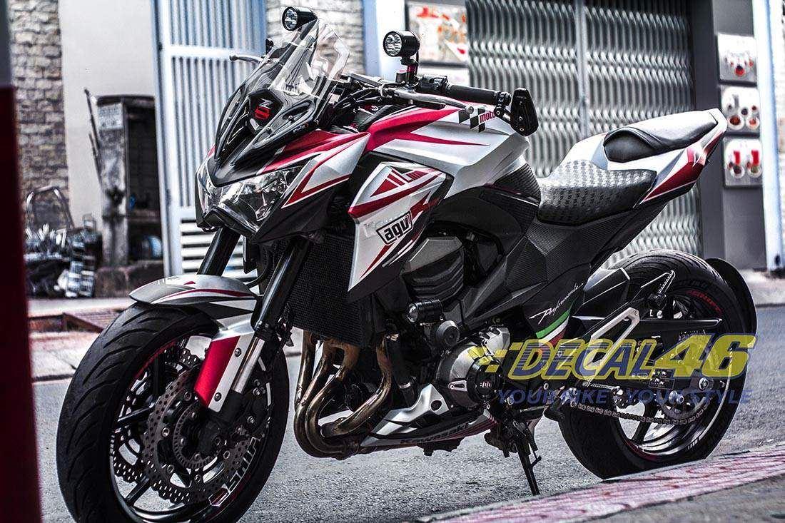Tem xe PKL - Tem xe Z800 thiết kế Bigbike Style Nhôm xước