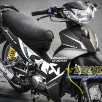 Tem xe Yamaha Sirius - 182 - Tem xe thiết kế Akapovic trắng đen