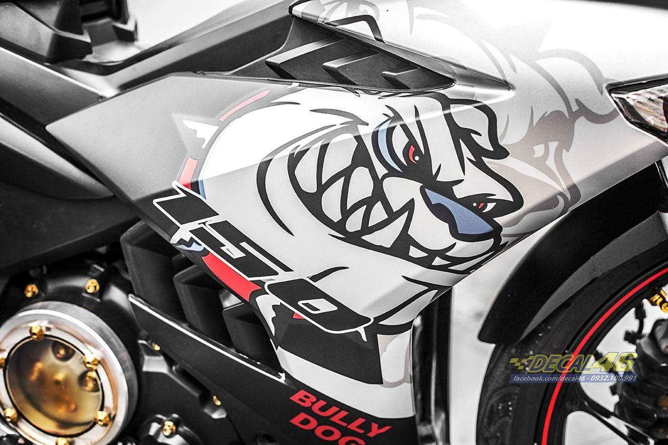 Tem xe Exciter 150 – 278 – Tem xe thiết kế Bull Dog trắng đỏ
