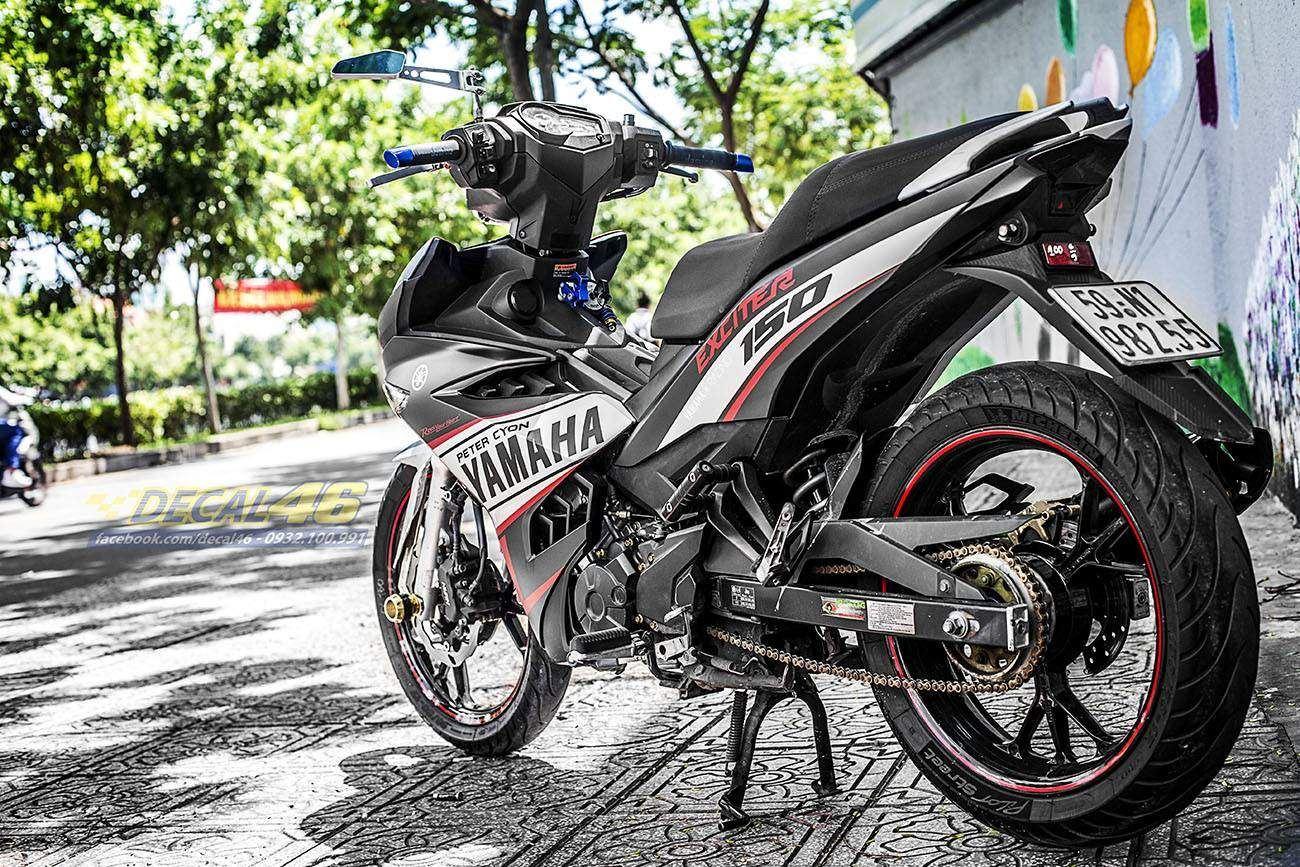 Tem xe Exciter 150 – 289 – Tem xe thiết kế Yamaha Racing trắng đỏ đen