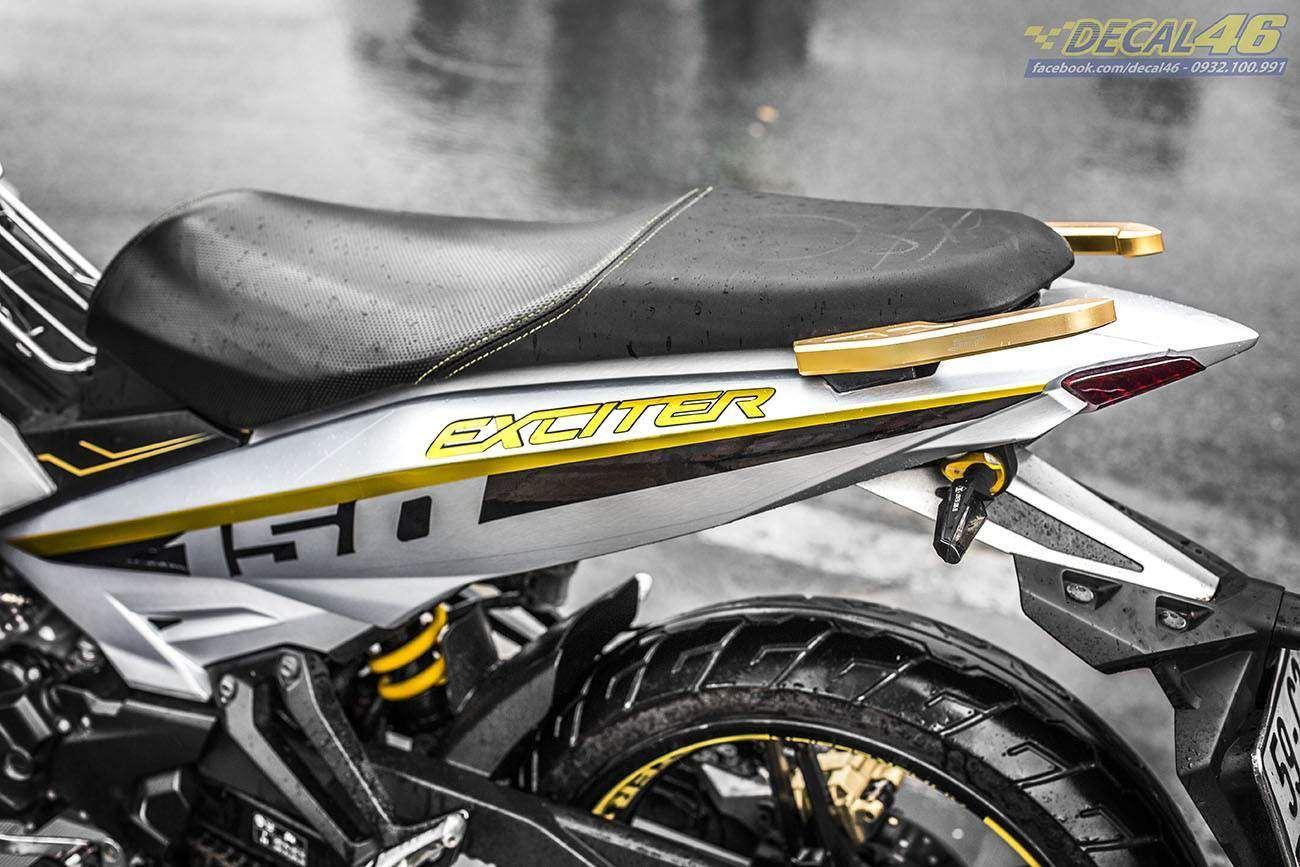 Tem xe Exciter 150 – 297 – Tem xe thiết kế Bạc xước vàng