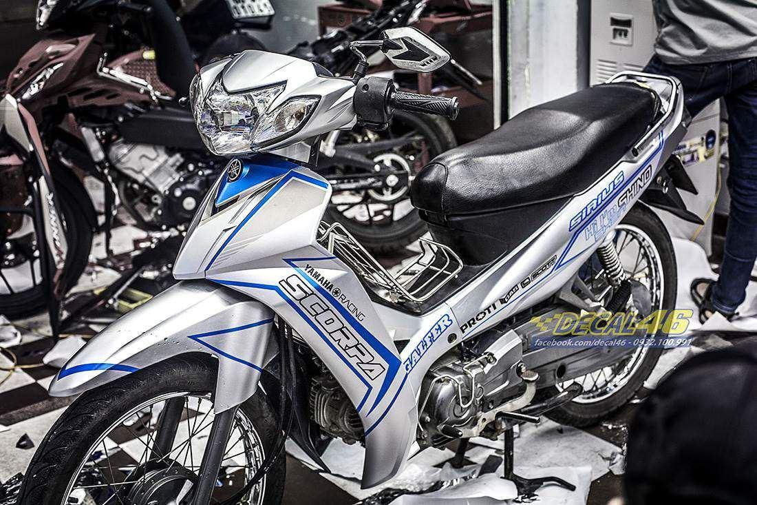 Tem xe Yamaha Sirius - 192 - Tem xe thiết kế Scorpa trắng xanh