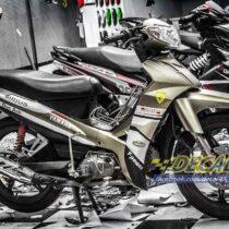Tem xe Yamaha Sirius - 183 - Tem xe thiết kế Vpower xám trắng