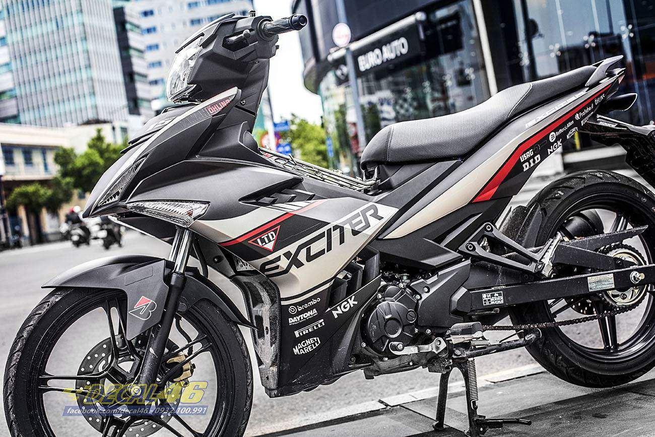 Tem xe Exciter 150 – 282 – Tem xe thiết kế Ducati trắng đỏ đen