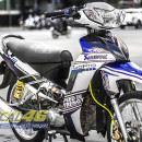 Tem xe Yamaha Sirius – 185 – Tem xe thiết kế Go Pro trắng xanh