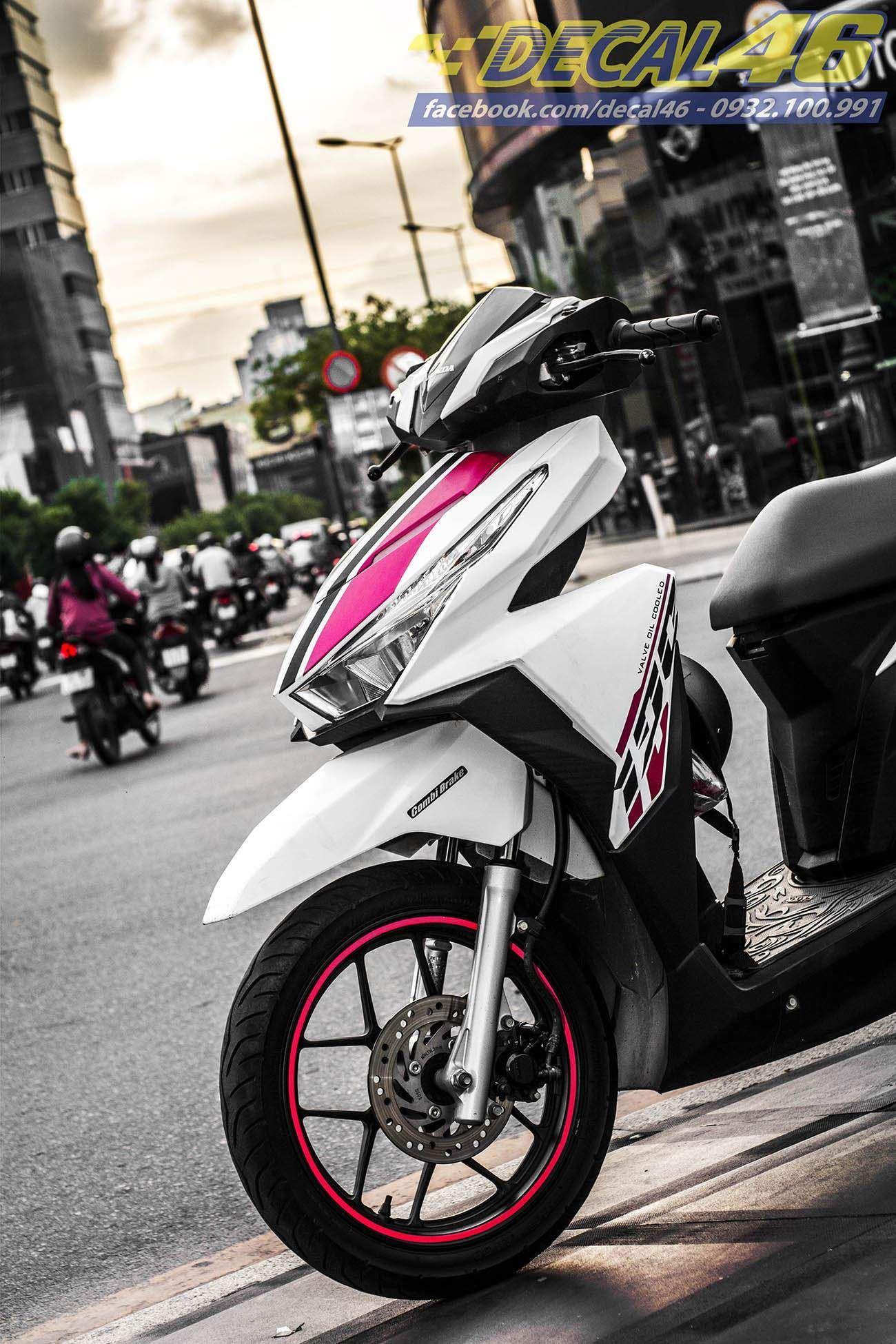 Tem xe Honda Click - 008 - Tem xe thiết kế Pink
