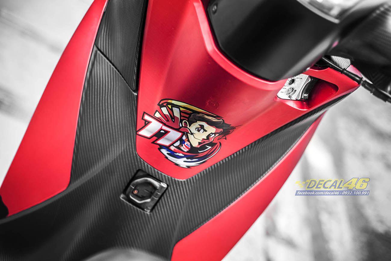Tem xe Honda SH 150 Italia - Tem xe thiết kế Marquez đỏ đen
