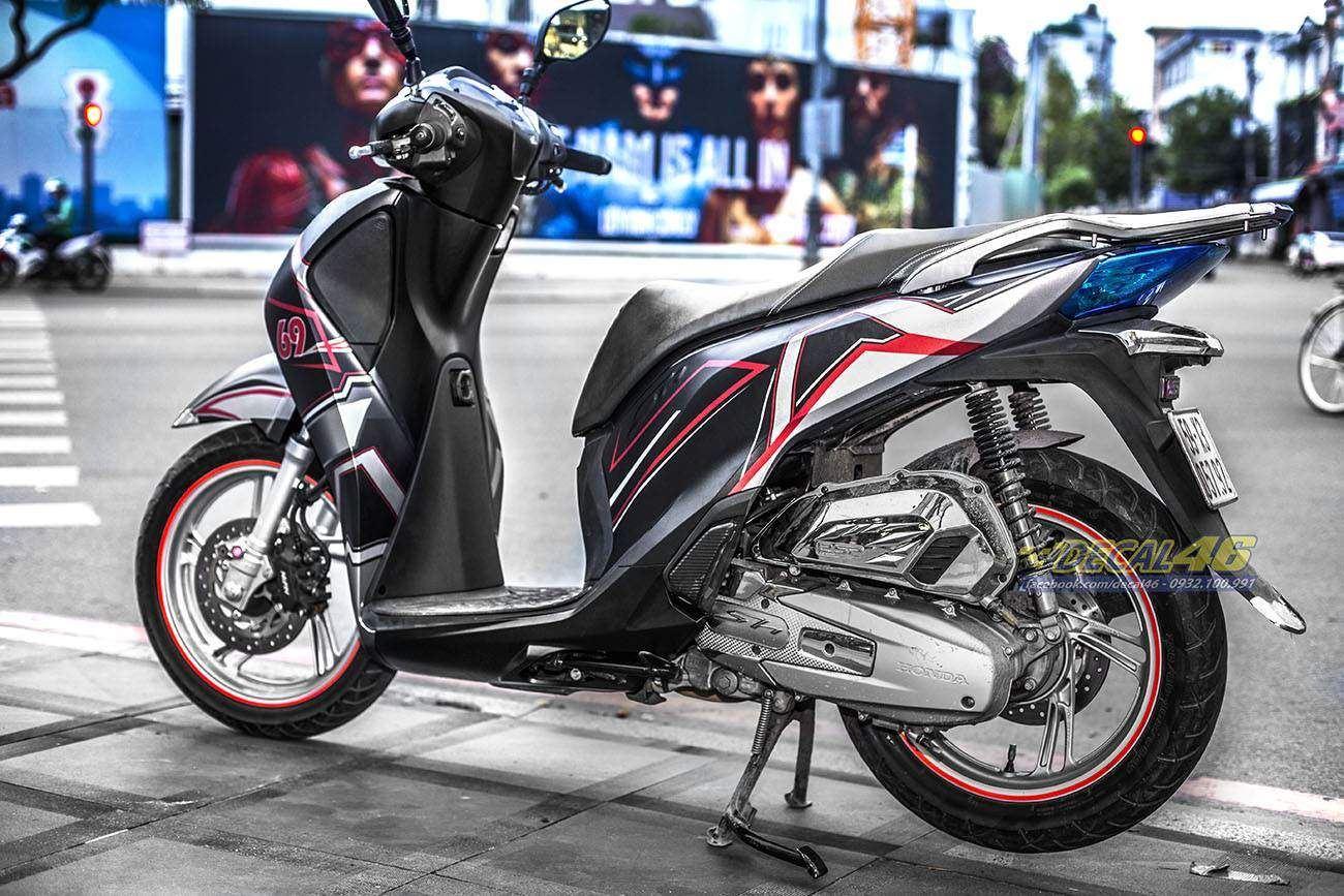 Tem xe Honda SH 150 Italia - Tem xe thiết kế Light đen