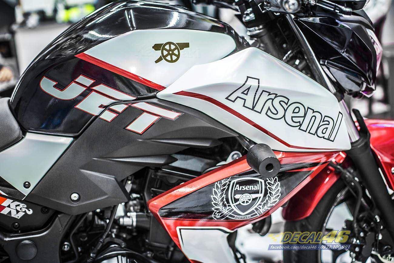 Tem xe PKL - Tem xe Z300 thiết kế Arsenal đỏ trắng đen