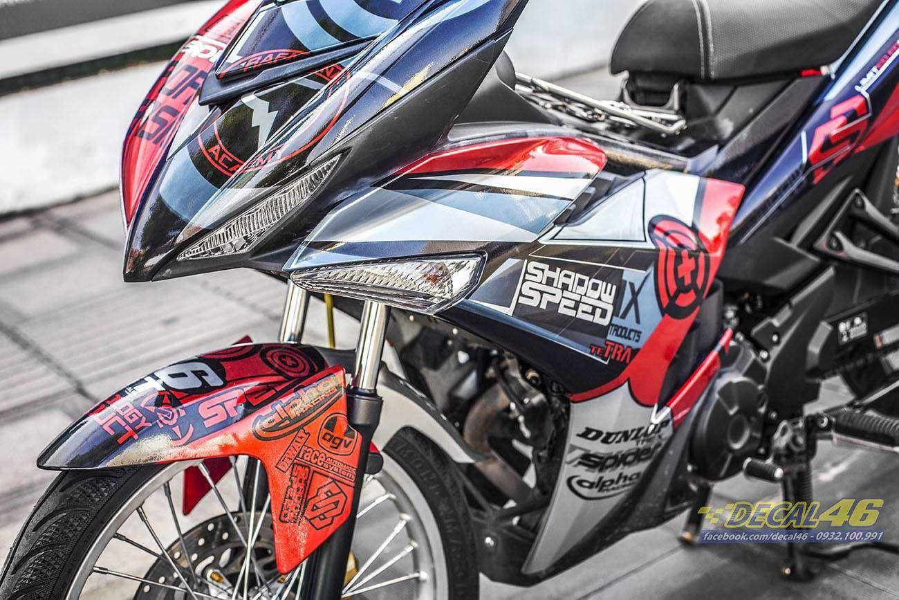 Tem xe Exciter 150 – 301 – Tem xe thiết kế Shadow đỏ đen