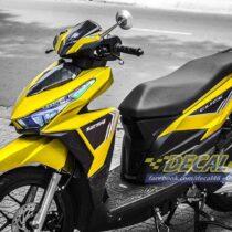 Tem xe Honda Click - 011 - Tem xe thiết kế Nhôm vàng