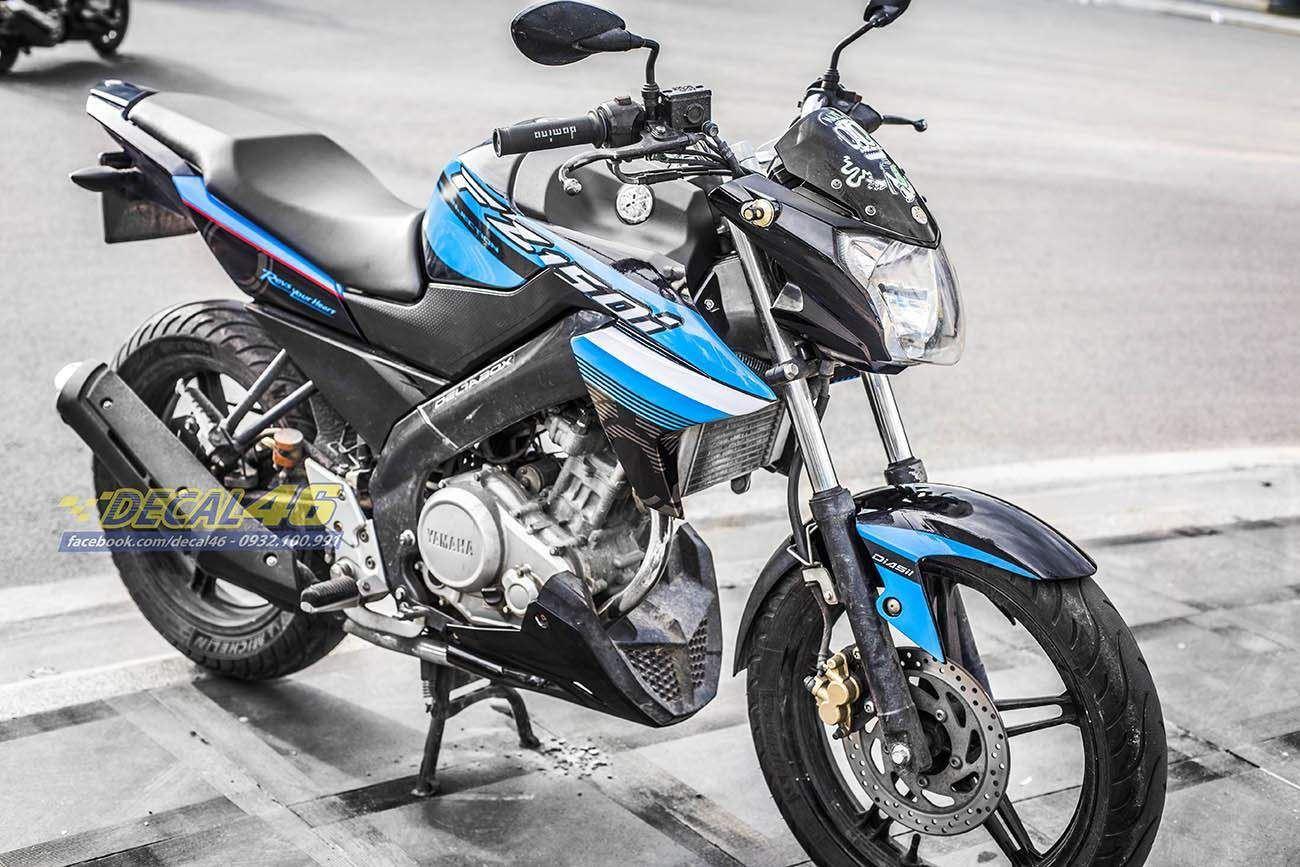 Tem xe FZ150i - 069 - Tem xe thiết kế xanh đen