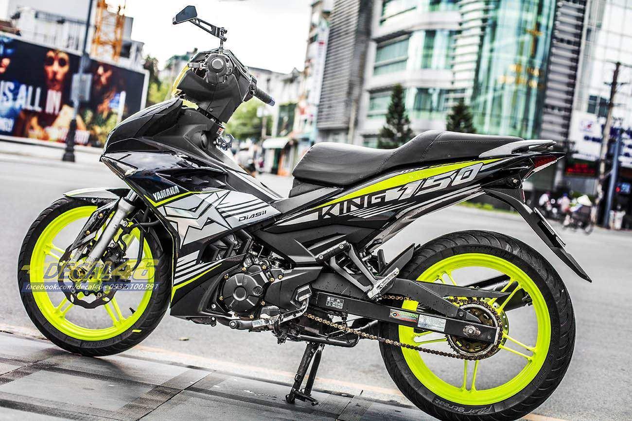 Tem xe Exciter 150 – 323 – Tem xe thiết kế MX Chrome vàng đen
