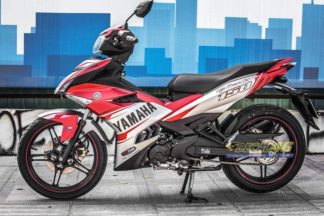 Tem xe Exciter 150 – 337 – Tem xe thiết kế Yamaha trắng đỏ