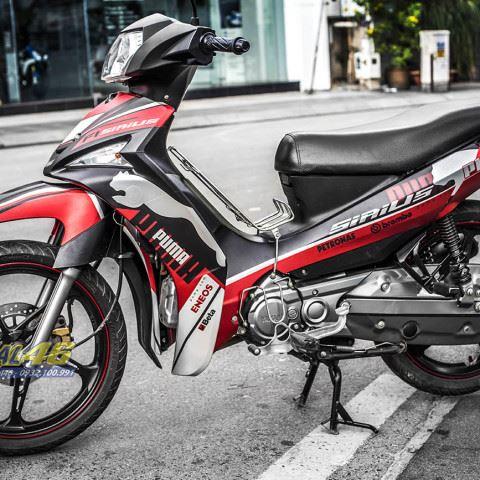 Tem xe Yamaha Sirius - 208 - Tem xe thiết kế Puma đen đỏ