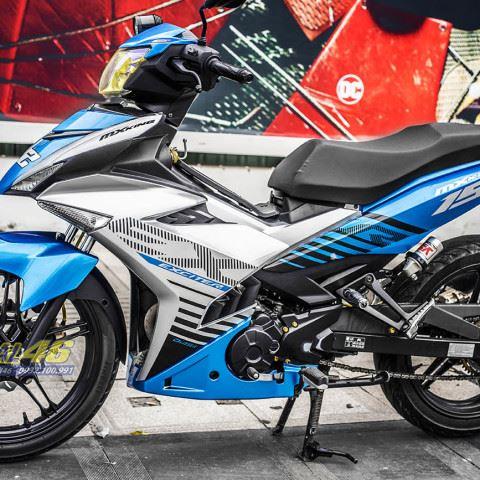 Tem xe Exciter 150 – 324 – Tem xe thiết kế MX King xanh bạc
