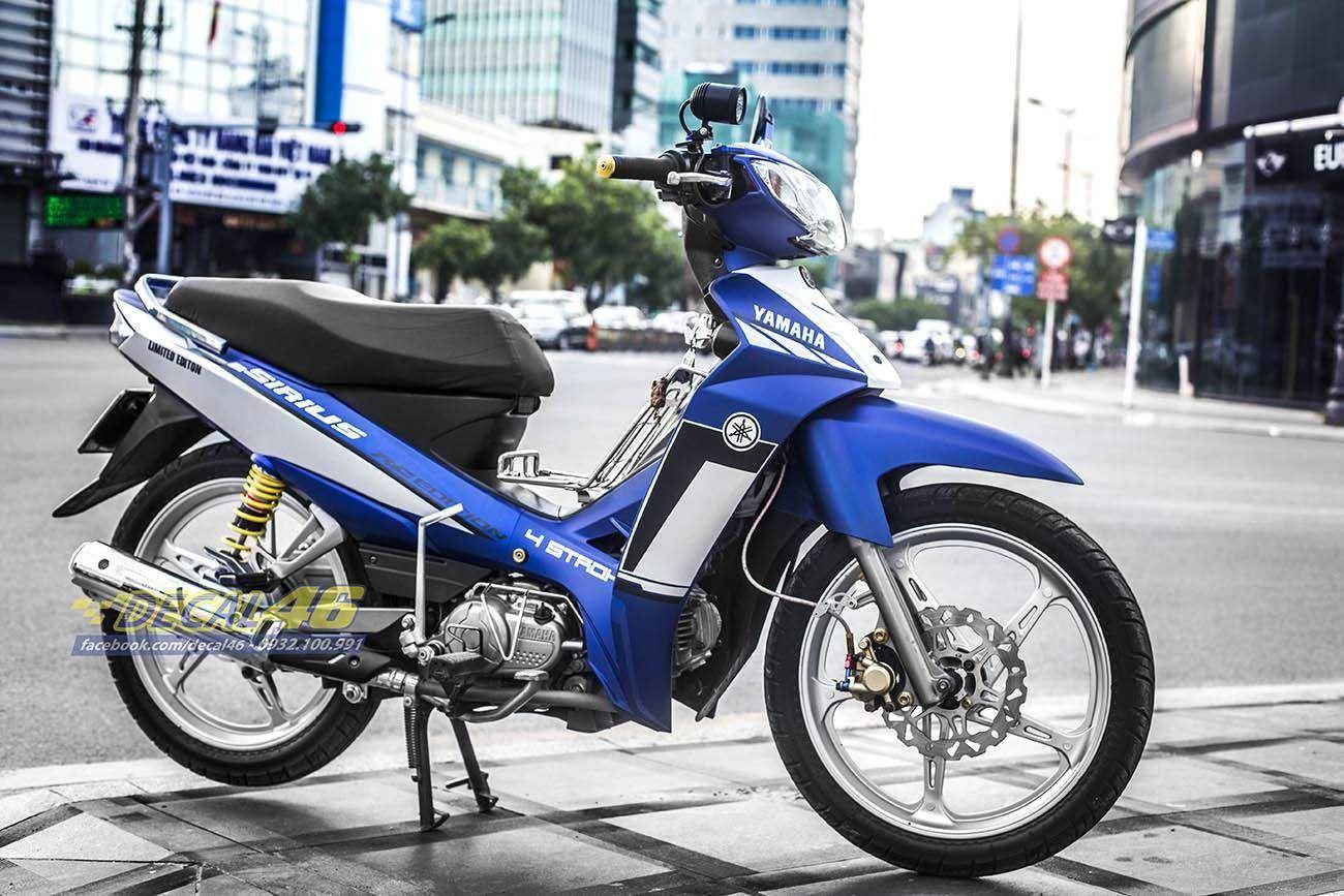 Tem xe Yamaha Sirius - 207 - Tem xe thiết kế Simple xanh trắng