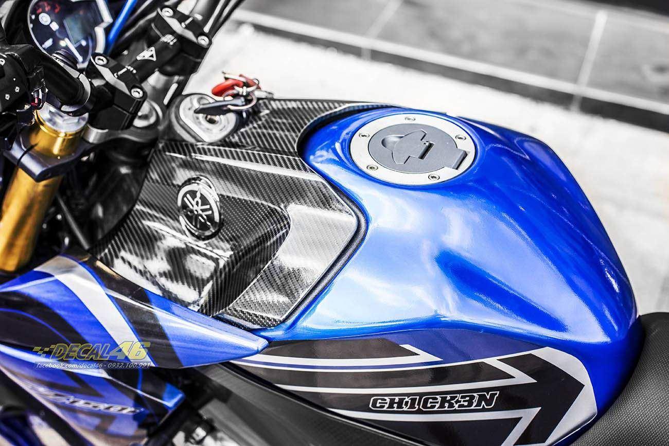 Tem xe FZ150i - 071 - Tem xe thiết kế REX xanh trắng
